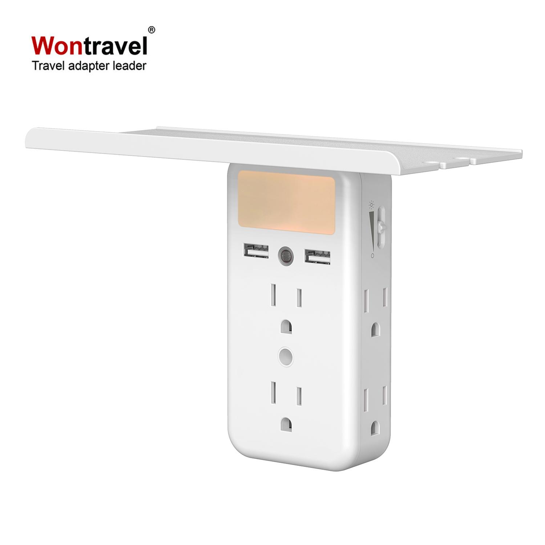 socket shelf美规多功能墙壁转换插座光感夜灯置物架USB充电插座