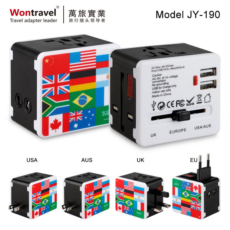 全球旅行插座雙USB  JY-190