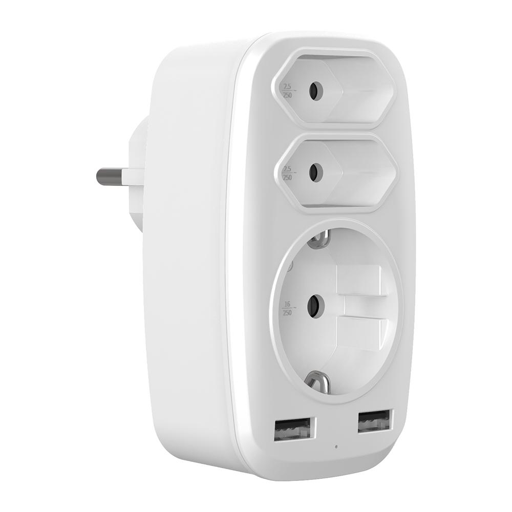 WL-030SS德法轉歐規小插頭USB多功能插頭轉換器
